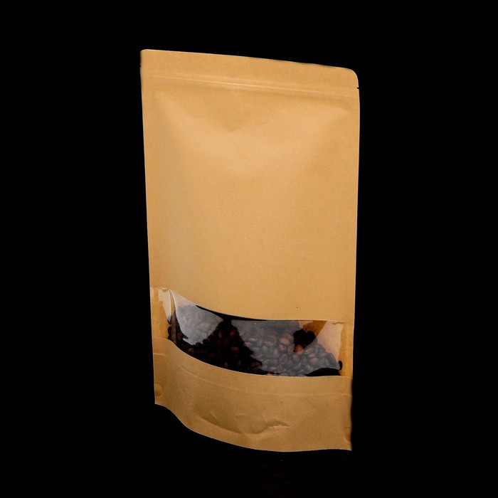 Пакет Zip-lock Крафт с прямоугольным окном 30 х 40 см - фото 308983955