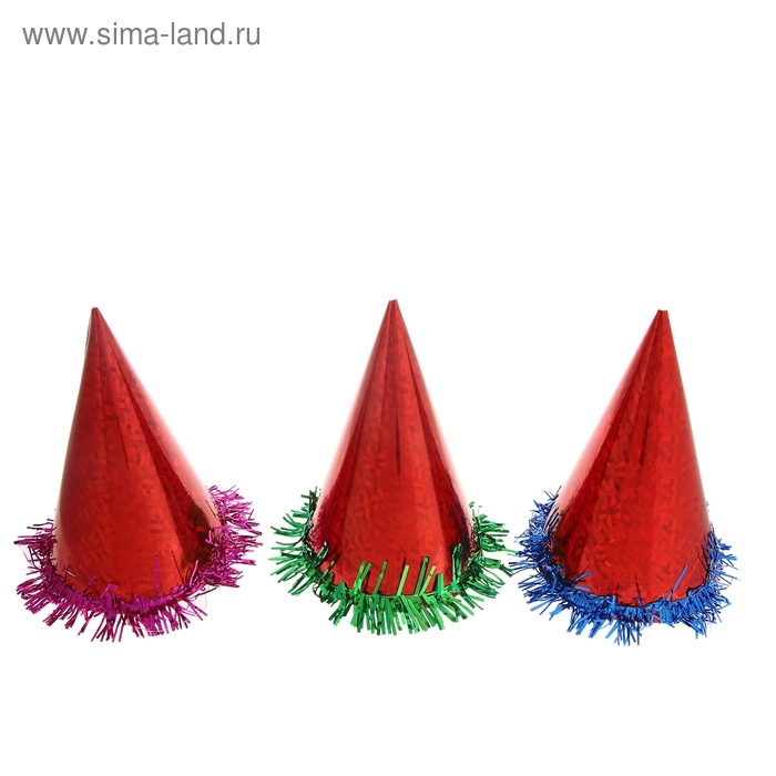 Карнавальный колпак (набор 6 шт) цвет красный с мишурой