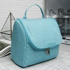 Косметичка-сумочка, отдел на молнии, с ручкой, крючок, цвет голубой