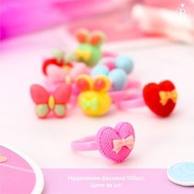 Кольцо детское 'Выбражулька' ассорти с бантиками, форма МИКС, цвет МИКС Ош