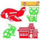 """Игрушка развивающая """"Трафарет"""", рисуем: тигра, зайца, самолёт, дом"""