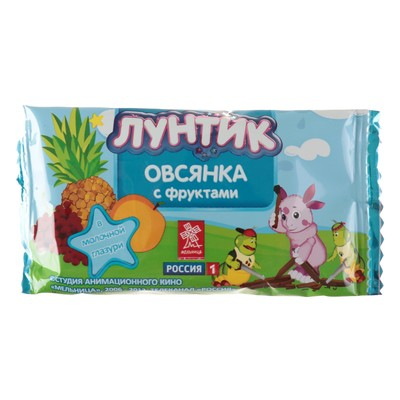 """Батончик  Виталад Лунтик """"Готовый завтрак овсянка с фруктами"""" в молочной глазури, 40 г."""