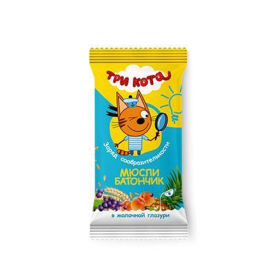 """Батончик  Виталад  Три кота""""Мюсли абрикос и злаки"""" в молочной глазури, 40 г."""