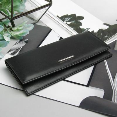 Кошелёк женский, 2 отдела, для карт, для монет, наружный карман, цвет чёрный