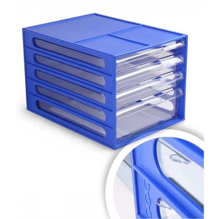 Файл-кабинет 4-секционный СТАММ, синий корпус, прозрачные лотки