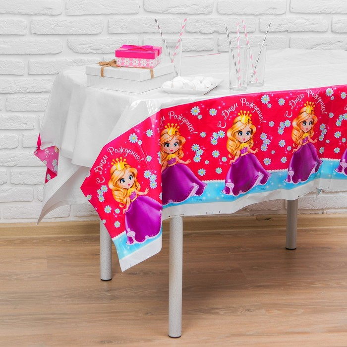 "Tablecloth ""happy birthday"" Princess, 182 x 137cm"