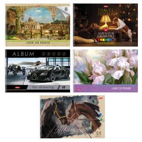 Альбом для рисования А4, 48 листов на гребне «Ассорти», мелованный картон, МИКС