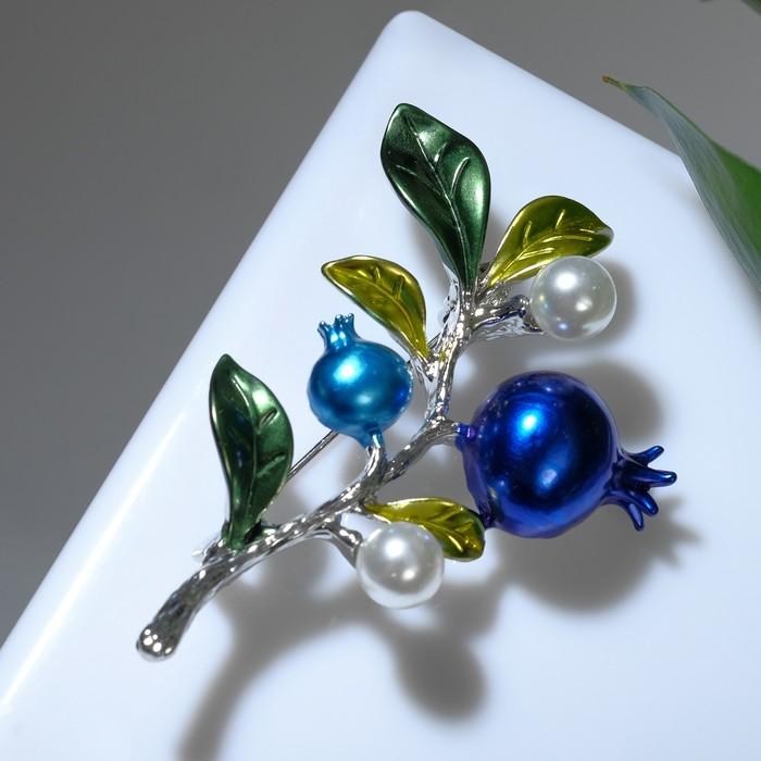 """Брошь """"Ветвь черничная"""", цвет зелено-голубой в серебре - фото 329122066"""