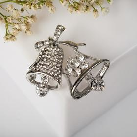 "Brooch ""Kolokolchiki"" 's new year, color white silver"