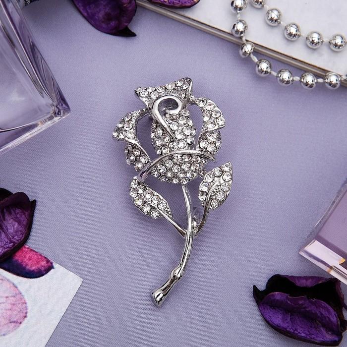 """Брошь """"Цветок"""" роза, классика, цвет белый в серебре - фото 234153761"""