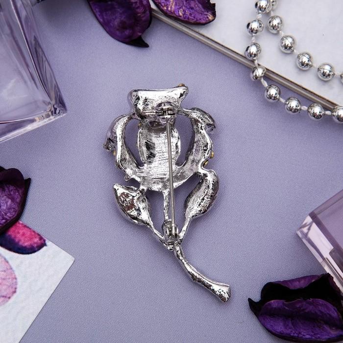 """Брошь """"Цветок"""" роза, классика, цвет белый в серебре - фото 234153762"""