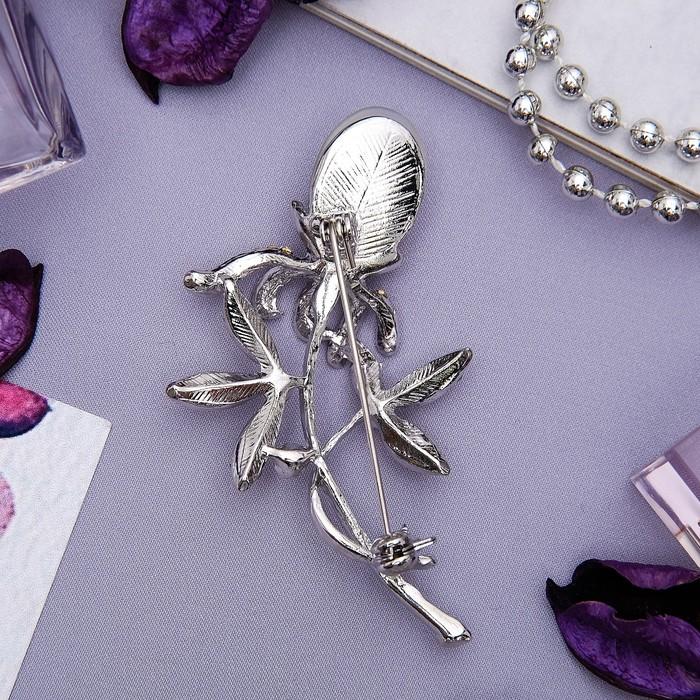 """Брошь """"Цветок"""" одуванчик, цвет белый в серебре - фото 329121063"""