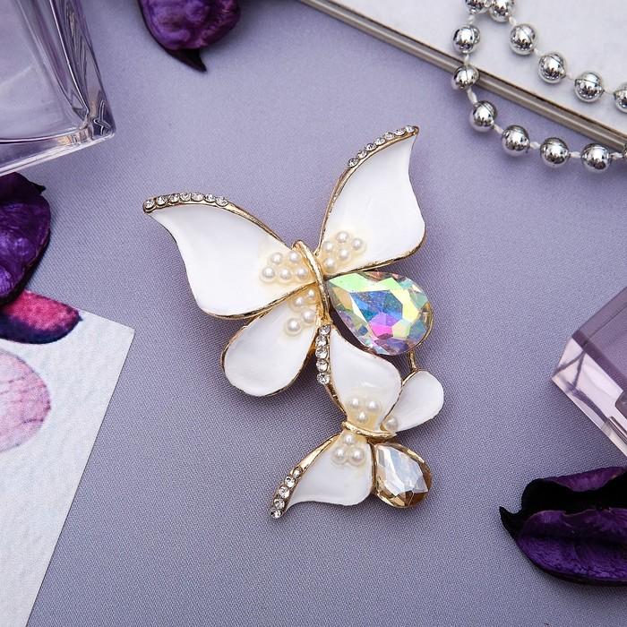 """Брошь """"Бабочки"""" нектаринки, цветная в золоте"""