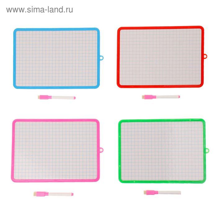 Доска для рисования одностороняя картонная в клетку, маркер, цвета МИКС