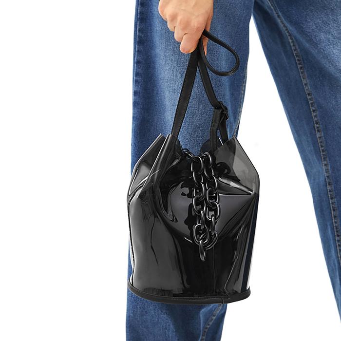 Цепочка для сумки, 120см, 70колец, 2см, цвет чёрный