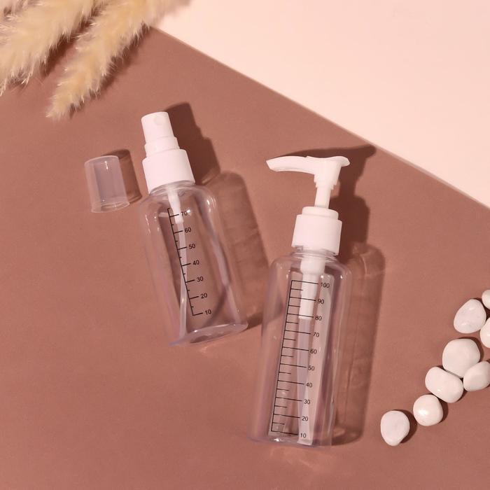 Набор для хранения, 2 предмета: бутылочка с распылителем-75мл, бутылочка с дозатором-100мл, цвет белый