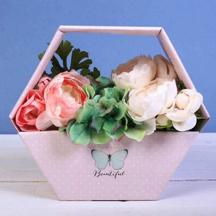 Коробка-сота для цветов «Бабочка», 23 × 20 см