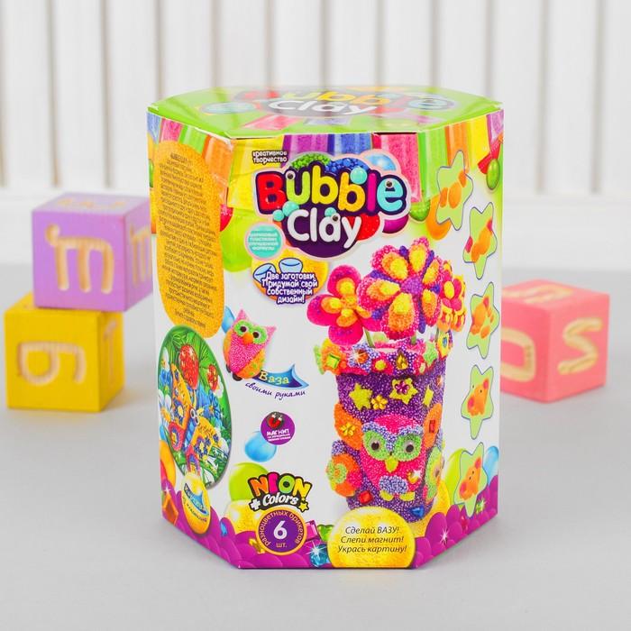 "Набор 3в1 ""ВАЗА BUBBLE CLAY"" слепи вазу, магнит, картину с шариковым пластилином  BBC-V-03"