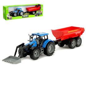 Трактор инерционный «Фермер», с прицепом, масштаб 1:32, МИКС