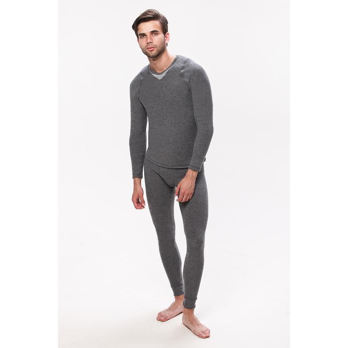 Комплект мужской термо (джемпер, кальсоны) цвет серый меланж, размер 46