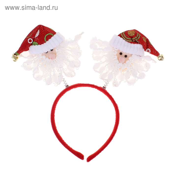 """Карнавальный ободок """"Санта"""" с колокольчиками"""