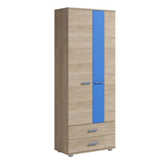 Шкаф для одежды 2 двери 2 ящика Формула 765х400х1985 Дуб сонома/Голубой