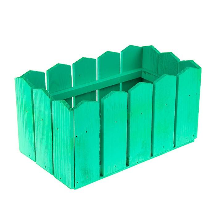 "Кашпо деревянное 23×12×12 см ""Заборчик"", зелёный Дарим Красиво - фото 819923"