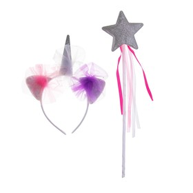 """Carnival set """"Love"""" 2 pieces: headband, wand, color silver"""