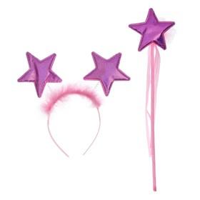 """Карнавальный набор """"Звезда"""" 2 предмета: ободок, жезл, цвет розовый"""