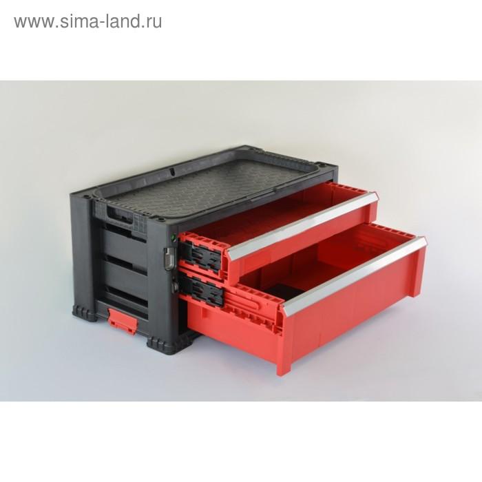 Ящик для инструментов 2 DRAWERS TOOL CHEST, чёрно-красный