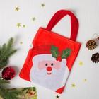 Сумочка для подарков «Дед Мороз», остролист на колпаке, размер 20×24 см