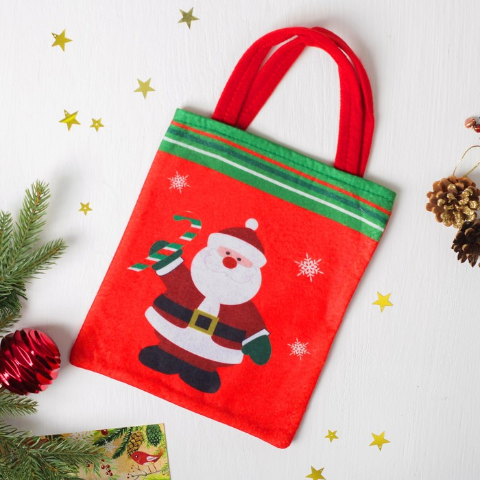 "Сумочка для подарков ""Дед Мороз с конфетой"",  размер 20 х 23 см"