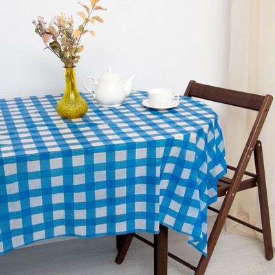 Tablecloth to give the hostess Cage, blue color 160×160 cm