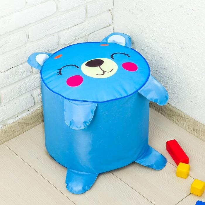 Мягкая игрушка «Пуфик Мишка» 40см х 40см, цвет голубой