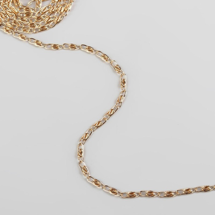 Цепочка для сумки, с карабинами, 120 см, 0,4 см, цвет золотой