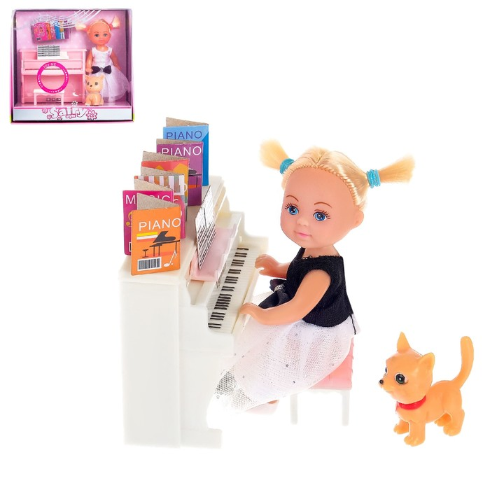 Кукла малышка «Милена» с пианино со звуковым эффектом, собачкой и аксессуарами, МИКС