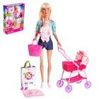 Кукла модель шарнирная «Молодая мама» с пупсом, коляской и аксессуарами, МИКС