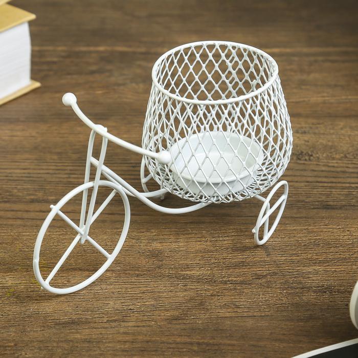 Подсвечник металл 1 свеча ''Велосипед'' белый 8,5х15х8 см   3742832