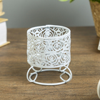 "Metal candle holder 1 candle ""Roses"" white 6,3x6,7x6,7 cm"