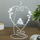"Metal candle holder 1 candle ""Heart with flowers"" white 21х14х11 cm"