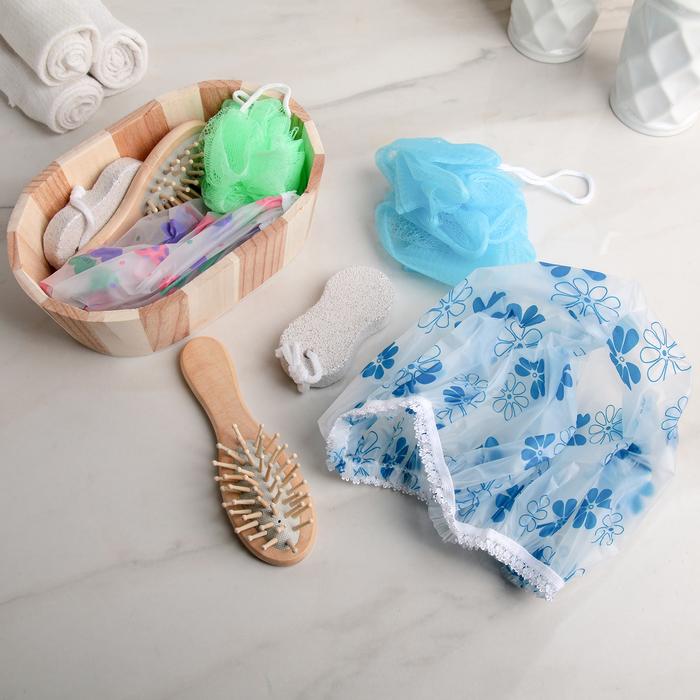 Набор банный, 4 предмета: расчёска, мочалка, пемза, шапочка для душа, цвет МИКС