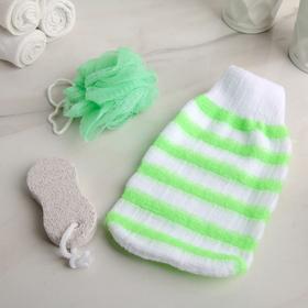 Bath set, 3 items: 2 sponges, pumice stone, MIX color