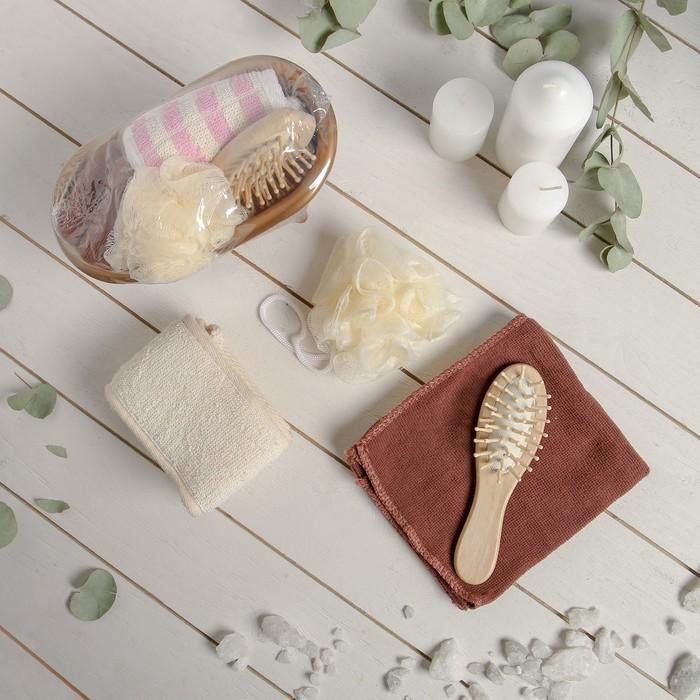 Набор банный, 4 предмета: расчёска, 2 мочалки, полотенце, цвет МИКС