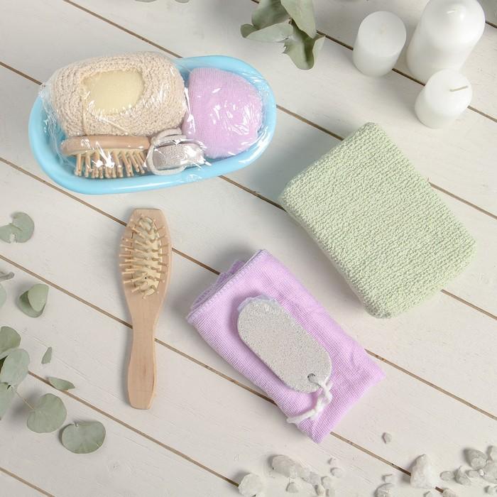 Набор банный, 4 предмета: расчёска, мочалка, пемза, чалма, цвет МИКС