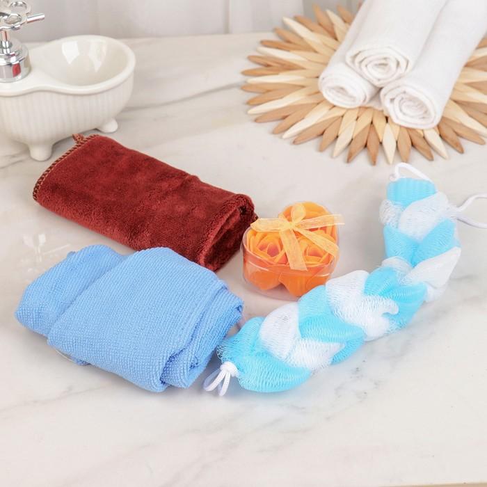 Набор банный 4 предмета: полотенце, мочалка, мыло, чалма, цвет МИКС