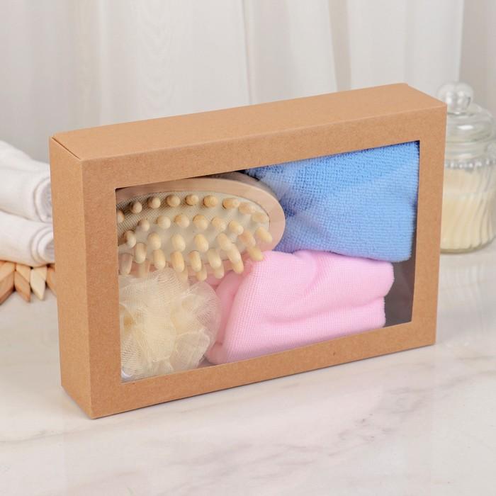 Набор банный 4 предмета: полотенце, мочалка, массажер, чалма, цвет МИКС