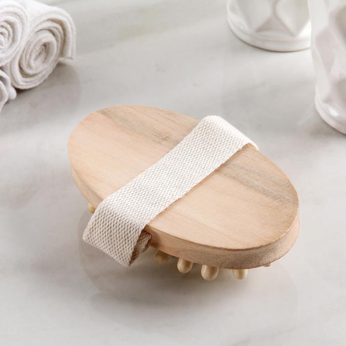 Набор банный 4 предмета: щетка с пемзой, 2 мочалки, массажер, цвет МИКС