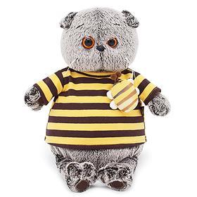 Мягкая игрушка «Басик» в полосатой футболке с пчелой, 22 см