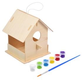 Кормушка для птиц, 12,5 × 12,5 × 16 см, с красками и кисточкой