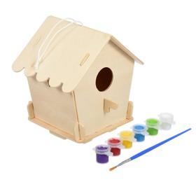 Скворечник «Домик»,12,5 × 12,5 × 16 см, с красками и кисточкой